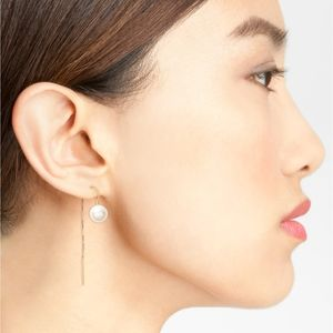 Poppy Finch pearl threader earrings 14k gold